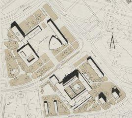 Před tím, než se projektu na Budějovické ujala Věra Machoninová, se zde plánovalo čtvrťové centrum dle návrhu architekta Vladimíra Bally. Architektonická studie pochází z roku 1964. V této době se ještě nepočítalo se stanicí metra. Vzápětí však bylo rozhodnuto, že přes Budějovické náměstí metro povede, proto nedošlo k realizaci Ballova návrhu. V roce 1968 převzala projekt architektka Machoninová, která do prostoru navrhla kromě DBK také tři administrativní budovy.